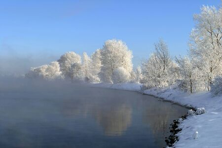 sunny winter day on the river Kama