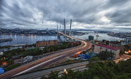 Night view of the bridge in the Russian Vladivostok on the Golden Horn