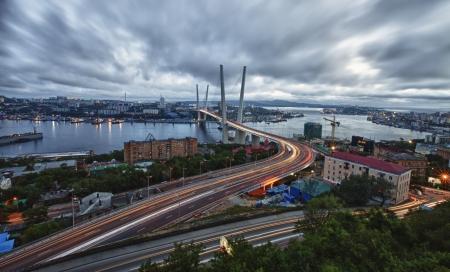 Night view of the bridge in the Russian Vladivostok on the Golden Horn Stock Photo - 17297835