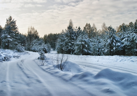 winter road: Walk through the beautiful places frosty Russian winter Stock Photo