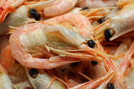closeup Freshly cooked prawns