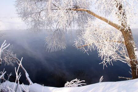 Winter walk along the river on a misty morning Stock Photo - 18202616