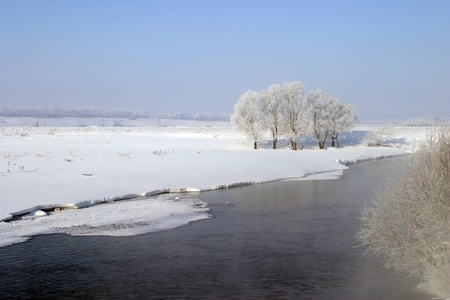 Winter walk along the river on a misty morning Stock Photo - 18202387