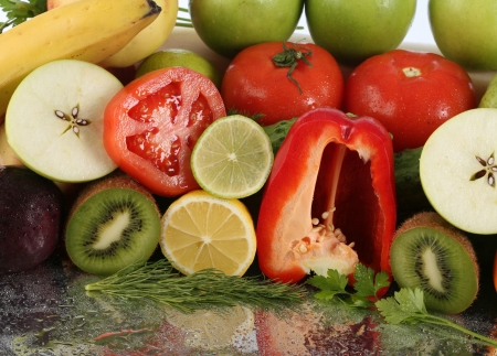 fruits vegetables in studio with bright light Stock Photo - 18257446