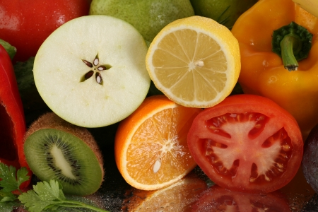 fruits vegetables in studio with bright light photo