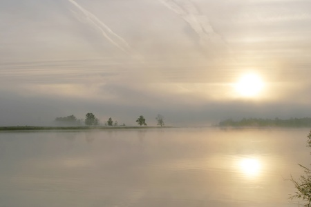 a beautiful sunrise on the river Belaua photo