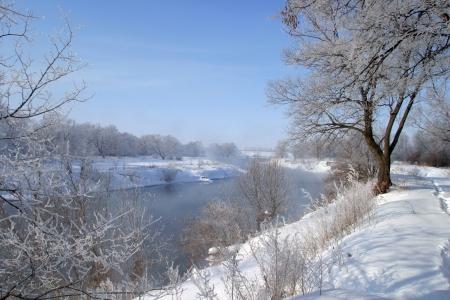 Winter wandeling langs de rivier op een mistige ochtend Stockfoto