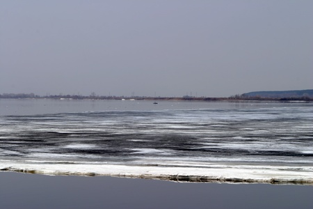 ice floated down the river during the spring break-up photo