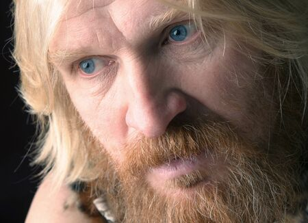 close-up portrait of an adult male with long hair, blonde, with a red beard and mustache, wearing a fur dress, looking in the direction of Stock Photo