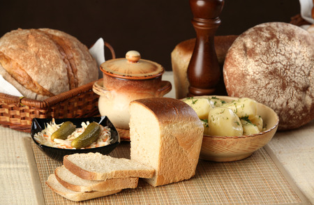 edibles: close-up of homemade bread and other edibles Stock Photo