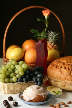 pastries, fruits, berries are beautiful on the table photo