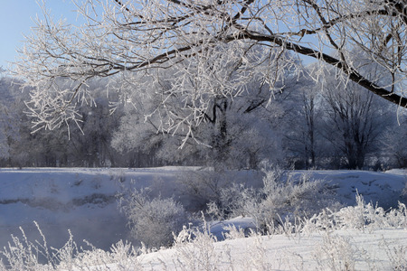 winter landscape frosty day on the river Zai photo