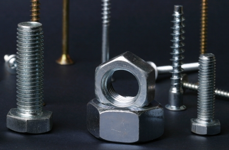 bolts heads: macro screws and nuts