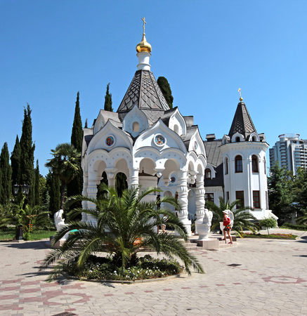 christianity palm sunday: Cathedral of the Archangel Michael in the Russian city of Sochi Stock Photo