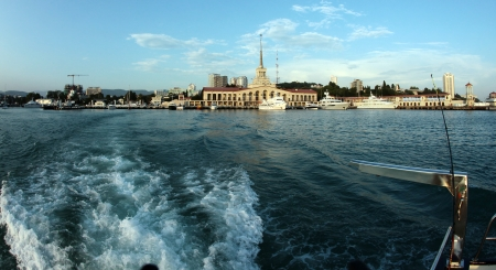 seascape view from the sea to the area of ??the city of Sochi sunny summer day