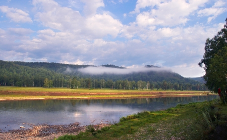 urals: summer landscape White River in the Southern Urals on a cloudy day
