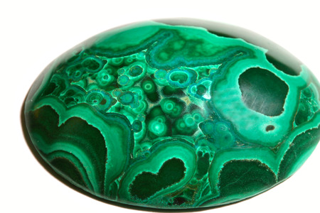 malachite: macro gemstone malachite green with beautiful curlicue studio Stock Photo