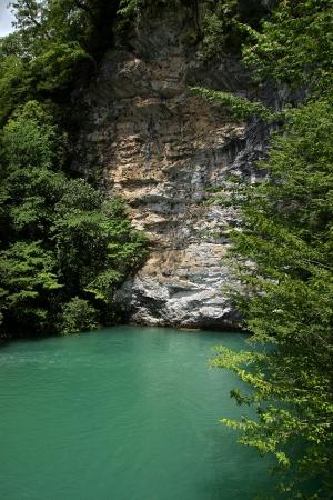 abkhazia: Summer landscape mountain river Gagra ridge Gega  in Abkhazia