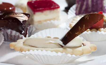 blueberry cheesecake: close-up of various cakes and chocolates on a white plate studio