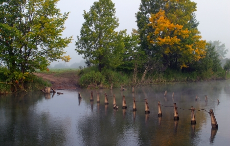 tatarstan: landscape of dense fog on the river near the forest at dawn Stock Photo