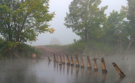 landscape of dense fog on the river near the forest at dawn photo