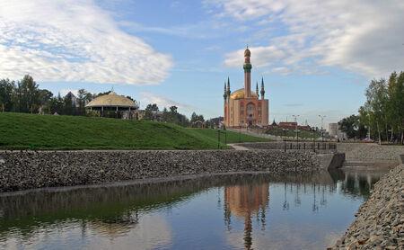 tatarstan: Landscaped area near a mosque Almetyevsk Stock Photo