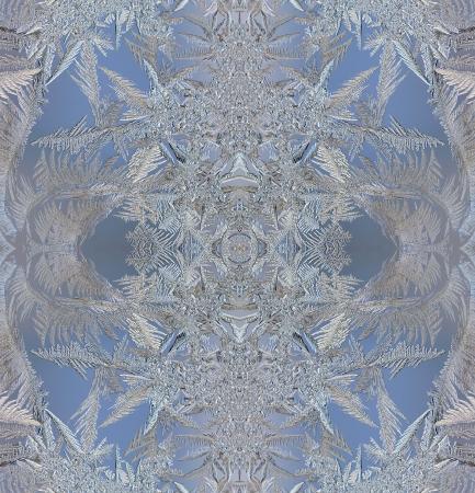macro mooie ingewikkelde patronen van vorst op het glas
