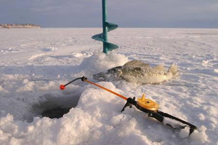 boer: primer plano boer, ca�a de pescar y los pescados alrededor del agujero de hielo en el r�o de invierno en un d�a soleado