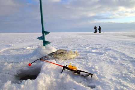 close-up boer, fishing rod and fish around the ice-hole on the winter river in a sunny day photo