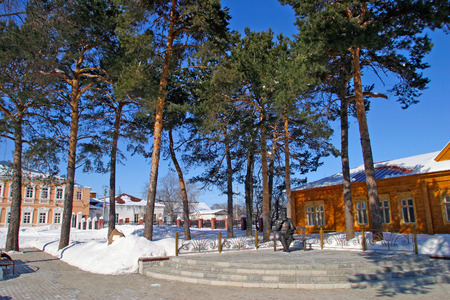 elabuga: Monument and Museum V.M.Bekhterev county Medicine in Elabuga in sunny winter day