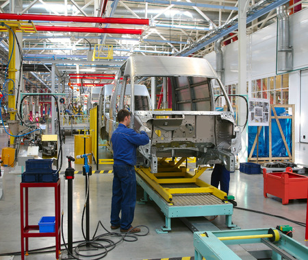 domestic workers: modern automated assembly line for cars