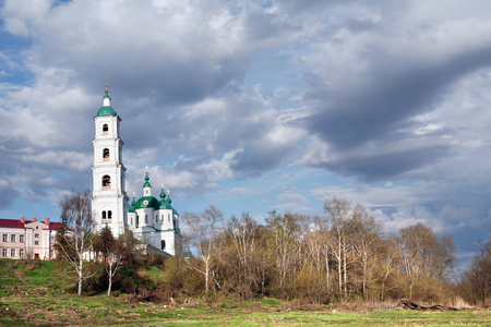 elabuga: Spring cityscape Shishkin ponds in Elabuga view of the old town and the of the Saviour Cathedral in a cloudy day