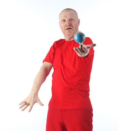 Vertical portrait of adult bald man in red clothes isolated on white background studio