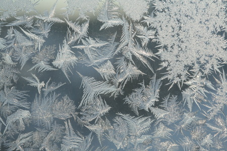 crystallization: macro beautiful intricate patterns of frost on the glass in a cold winter day