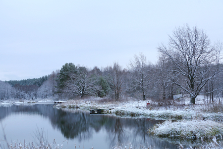 winter landscape  the first snow in field near forest and river on a cloudy day photo
