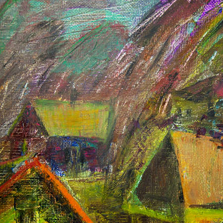 isolated close-up fragment of oil paintings depicting village houses photo