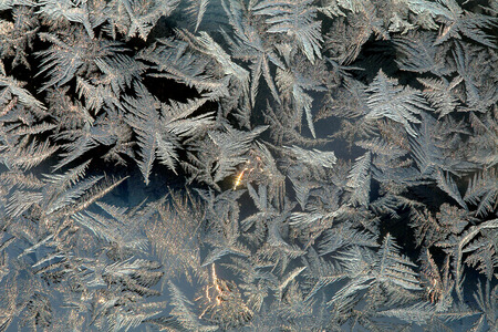 macro beautiful intricate patterns of frost on the glass in a cold winter day