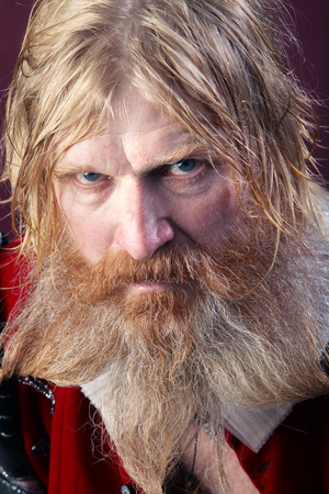 close-up portrait of an adult male with long blonde hair with a beard and mustache crazy kind Stock Photo