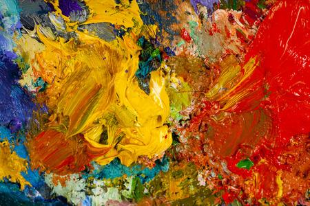 Makro Künstlerpalette, Textur gemischten Ölfarben in verschiedenen Farben und Sättigung Studio