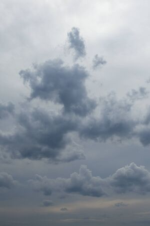 foreshadowing: close-up of blue-gray rain clouds in the sky before the storm Stock Photo