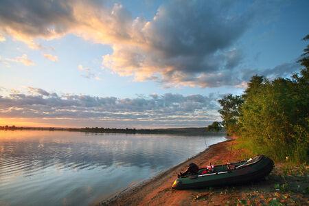 summer landscape wonderful sunset over a calm river photo