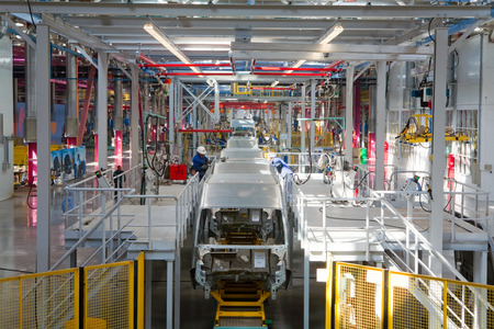 automotive industry: Yelabuga, Russia - May 12, 2014: assembly line vehicles Ford Sollers plant in the special economic zone Alabuga