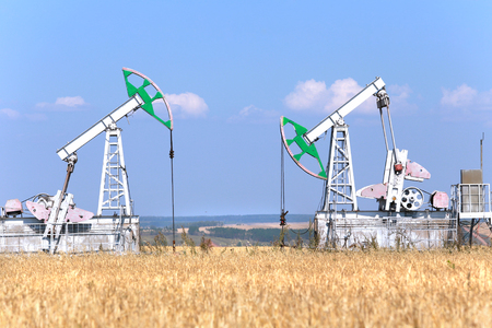 summer landscape oil pumps in the grain fields on the background of the blue sky on a sunny day photo