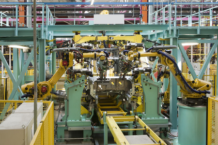 interior of modern automated assembly line for cars in during operation Stock Photo