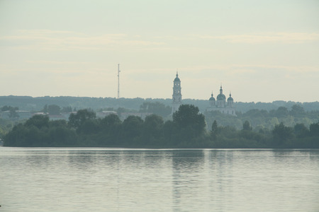 elabuga: summer landscape with a view of the river on the Spassky Cathedral Elabuga early misty morning Stock Photo