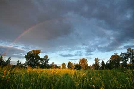 summer landscape dramatic clouds over the meadow at sunset and a rainbow after the rain photo