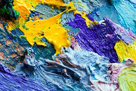 매크로 예술가의 팔레트, 다양한 색상과 채도 스튜디오에서 질감 혼합 오일 페인트