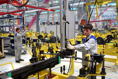Yelabuga, Russia - May 16, 2008: The launch vehicle assembly line conveyor plant SOLLERS-ELABUGA in the special economic zone Alabuga in May 2008