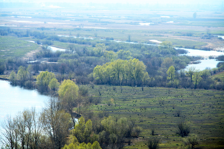 vicinity: spring landscape of the river, fields and trees in the vicinity of Yelabuga, top view