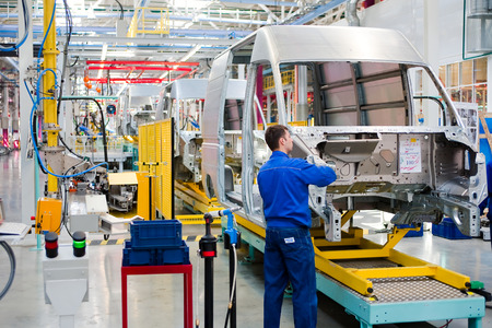 Yelabuga, Russia - May 12, 2014: assembly line vehicles Ford Sollers plant in the special economic zone